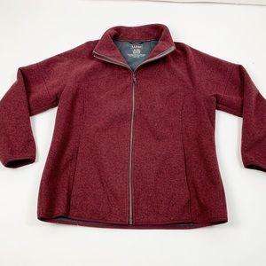 L.L. Bean Red Zip Knit Long Sleeve Pocket Jacket